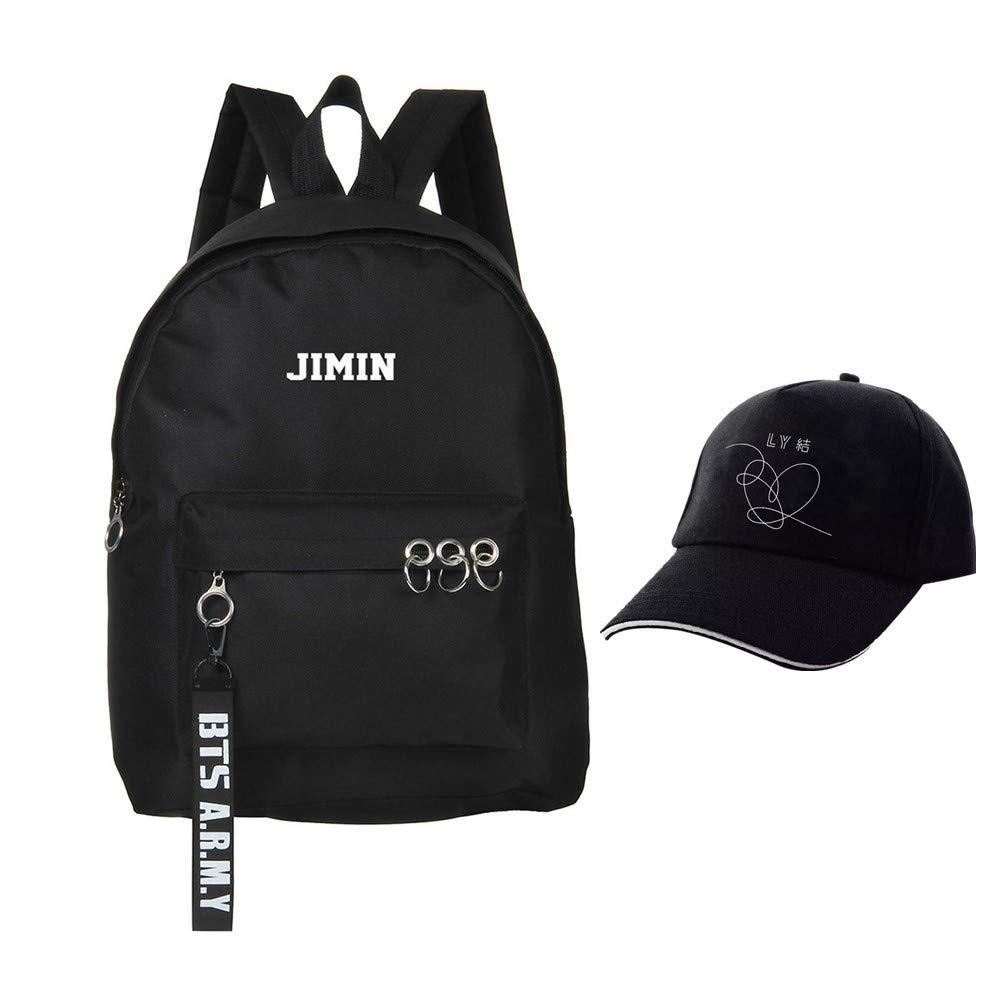 Youyouchard BTS Love Yourself V Suga Jin Jimin Jung Kook カジュアルバックパック デイパック ラップトップバッグ カレッジバッグ ブックバッグ ファッションアイアンリング バックパック スクールバッグ 帽子付き 1@$7:125(5892 B07HQ8K4PB BK12