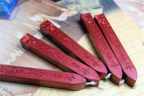 Sealing Wax Stick - Manuscript Sealing Seal Wax Sticks Wicks for Postage Letter (5PCS Wine Red)