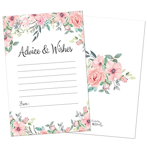 (50 Floral Pink Advice Cards-Words of Wisdom-Marriage-Wedding Advice Cards-Bridal-Baby Shower Party Games-Guest Book Alternative-Note Card Retirement-Best Wishes for Mr and Mrs-Graduation Advice)