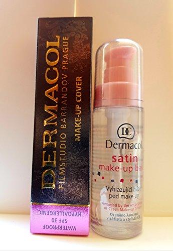 KIT DÚO Dermacol Make-up Cover foundation + Primer Satin make up base 30ml BUNDLE, 2 items FULL SIZE DERMACOL 100% ORIGINAL Guarantee (208)