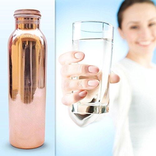 Taluka Handmade Copper Leak Proof Water Bottle, 1000 Ml, 2.8″ X 10.2″, Brown, Set of 2