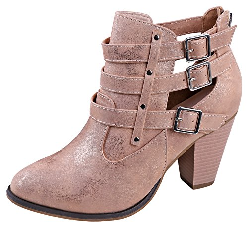(Forever Titan Mall Women's Buckle Strap Block Heel Ankle Booties Rose Gold)