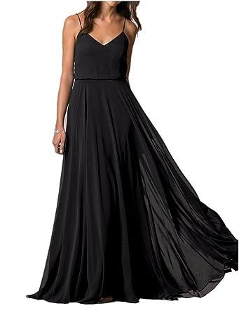 ea794c99321 Lafee Bridal V-Neck Spaghetti Straps Long Chiffon Beach Wedding Bridesmaid  Dress Black Size 2