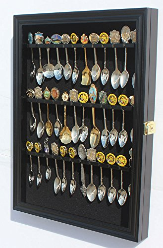 - 36 Tea Spoon Souvenir Spoon Display Case Holder Wall Cabinet, UV Protection. Lockable (Black Finish)