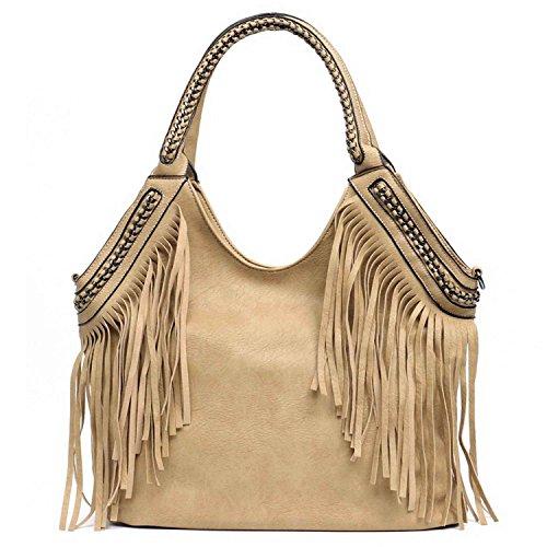 Handbags Women Mustard Bags Bag Leather Women's Tote Bags Bag Messenger Of Chain Fringe Big Handle Vegan Hobo Shoulder Bag Fashion fwqdBF
