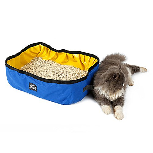NACOCO Foldable Cat Litter Box Portable Pet Toilet Strong Fabric Collapsible Lavatory Basin Outdoor Waterproof Litter Pan (Blue)