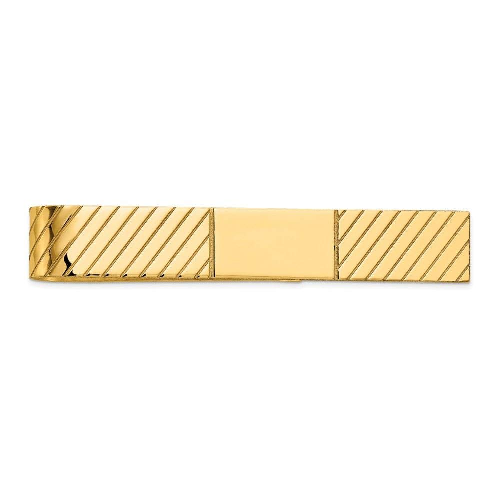 14K Yellow Gold Polished Engravable Tie Bar Clip by Accessory Tie Bar (Image #1)