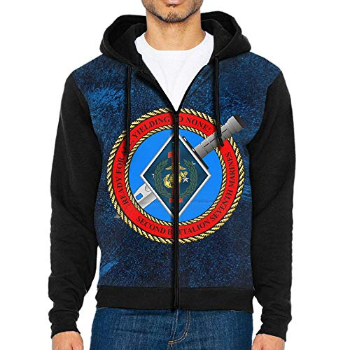 (Helidoud 2nd Battalion, 7th Marines Full-Zip Hoodie Casual Pullover Hooded with Pockets for Men)