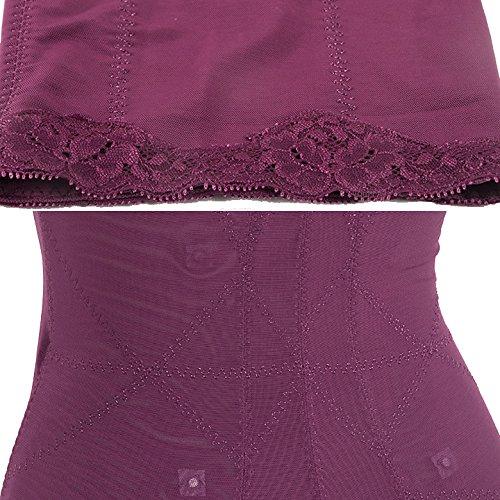 ZAMME Cinturón siamés de las mujeres cintura fina postparto adelgazante Body Shapewear elástico alto Morado