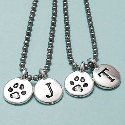 Best friend necklace, dog paw print necklace, paw print necklace, bff necklace, sister, friendship jewelry, personalized, initial, monogram