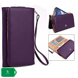 ZTE Grand S WALLET WITH PHONE POCKET-REMOVABLE WRISTLET STRAP INCLUDED - PURPLE - UNIVERSAL