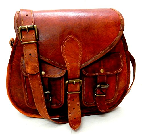 (Women Vintage Brown Leather Bag Multi Pocket Saddle CrossBody Satchel Shoulder Bag Ladies Travel Handmade Purse)