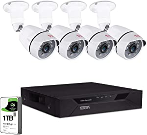 [Upgraded] Tonton 8CH Full HD 1080P Home Security Camera System Outdoor,Surveillance Video DVR with 1TB HDD and 4PCS 2MP 1920TVL Waterproof CCTV Bullet Camera,Easy Remote Access,Free App&Email Alerts