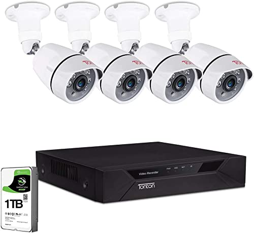 Upgraded Tonton 8CH Full HD 1080P Home Security Camera System Outdoor,Surveillance Video DVR with 1TB HDD and 4PCS 2MP 1920TVL Waterproof CCTV Bullet Camera,Easy Remote Access,Free App Email Alerts