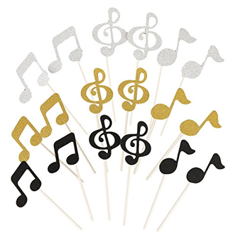 ULTNICE Birthday Cake Toppers - 18PCS Glitter Music Notation Toppers Party Decoration for Baby ()