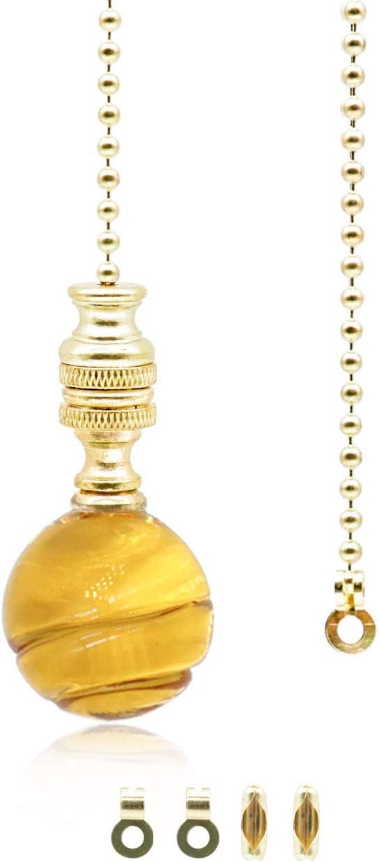 Interruptor de cadena de luz de bola de cristal amarillo,Cordón de luz de baño,Cadena de tracción de ventilador de luz de techo,1 metro de longitud