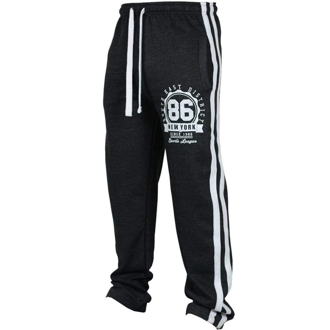 Best Seller! Fashion Men's Sport Jogging Fitness Pants - vermers Mens Casual Loose Sweatpants Drawstring Pants(M, Black)