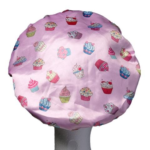 - Dilly's Collections Luxury Shower Caps - Microfiber Lined - Bathing Cap For Women - Seals Out Moisture in The Shower - Reusable - Pink Cupcake Design