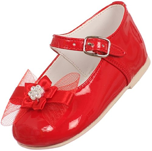 Little Baby Girl Infant Toddler Patent Bow Ankle Strap Buckle Dress Shoes Red 3 Infant (T77R15K) (Girls Red Sequin Shoe Covers)