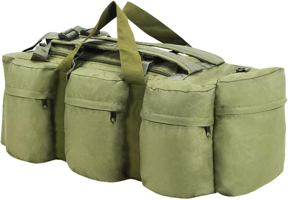 vidaXL Bolso de Lona Estilo Militar 3-en-1 de 120L Verde Oliva Maleta Mochila