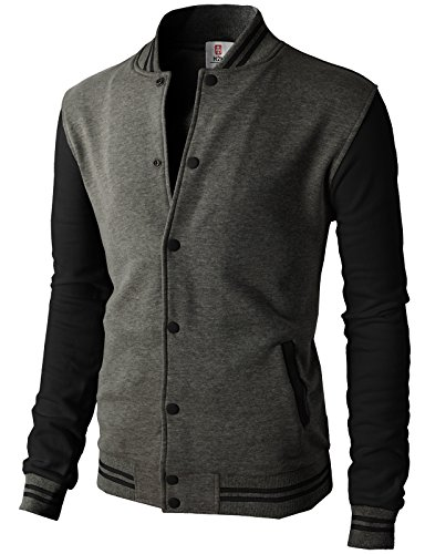 H2H Mens Slim Fit Varsity Baseball Bomber Cotton Lightweight Premium Jacket  Cmoja083-charcoalblack Medium by H2H