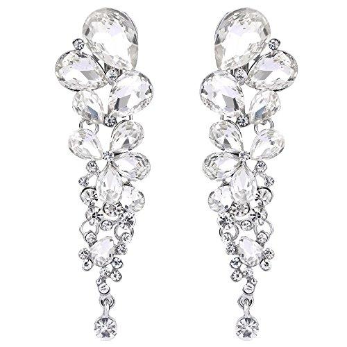 EVER FAITH Womens Austrian Crystal Gorgeous Tear Drops Wedding Dangle Clip-on Earrings