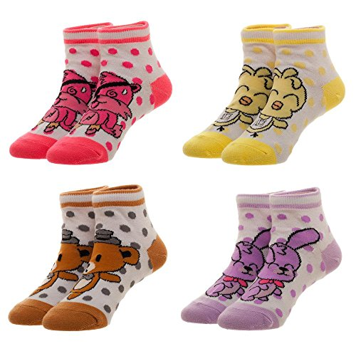 FNAF Five Nights At Freddy's 4 Pairs Youth Ankle Socks (Five Nights At Freddys Cool Math Games)