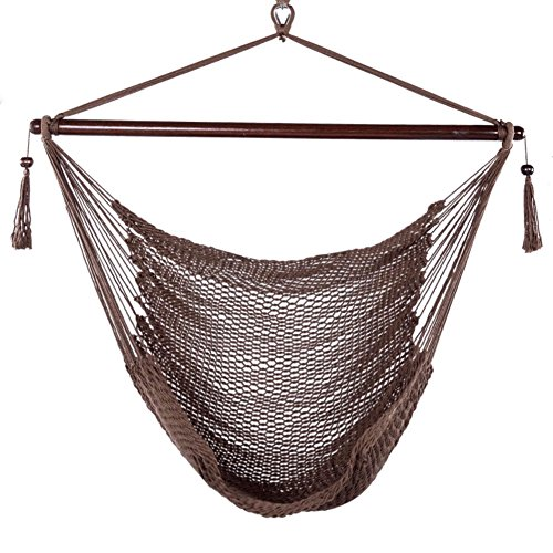 Blissun Hammock Chair, Hanging Chair, Swing Chair, 40-inch Wide Seat, Polyester Cotton (Mocha)