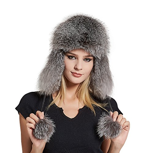 Fur Story Women's Trapper Hat with Sheep Leather Earmuffs Warm Winter Fur Hat (Sliver Fox Fur)
