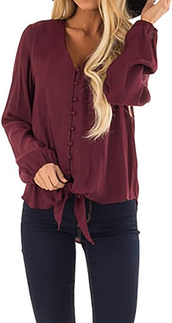 Rcool Camiseta Camisetas Tops y Blusas Camisetas Mujer Manga Corta Camisetas Deporte Mujer Camisetas Mujer, Botón de Cuello en V Manga Larga Camiseta Blusa: Amazon.es: Ropa y accesorios