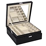 BEWISHOME Jewelry Box Organizer 28 Section Display Storage Box Case - Movable Large Mirror, Bright Embossed Black PU Leather - Gift for Girls Women SSH51B