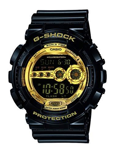 Casio Men's XL Series G-Shock Quartz 200M WR Shock Resistant Resin Color: Black & Gold (Model GD-100GB-1ACR) (Watches For Men Casio Gold)