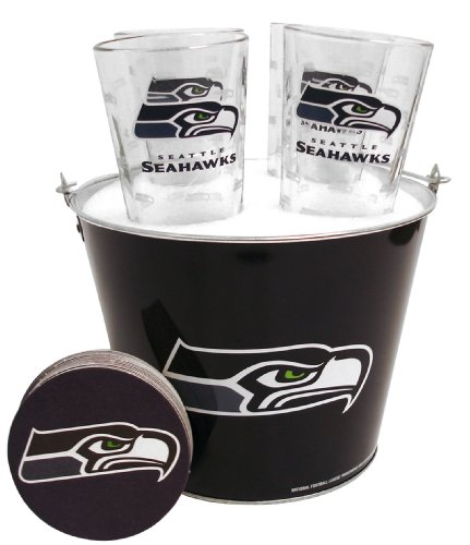 NFL Seattle Seahawks Satin Etch Bucket and 4 Glass Gift Set (Bucket Etch Satin)