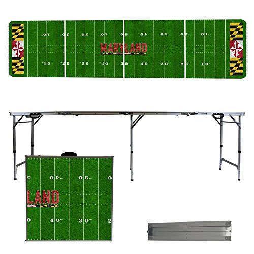 NCAA Maryland Terrapins Football Field Version 8-Feet Portable Folding Tailgate (Ncaa Maryland Terrapins Sports Table)