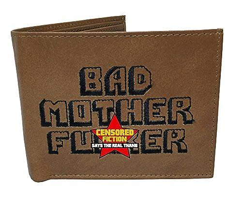 03. BMF Wallet Men's Original Bi-fold Embroidered Brown Genuine Leather