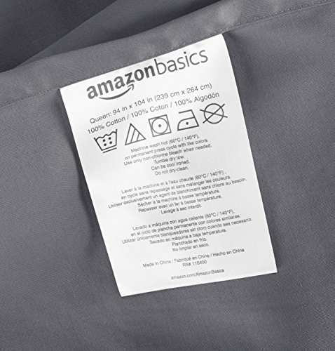 AmazonBasics 400 Thread Count Sheet Set, Queen, Dark Grey