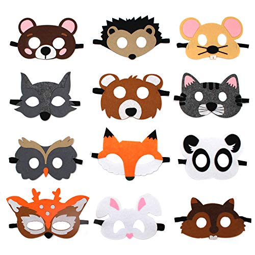 Forest Friends Party Masks Patrol Toys Birthday Favors Supplies Animal Cosplay Charater Mask for Kids (Set of 12) ()