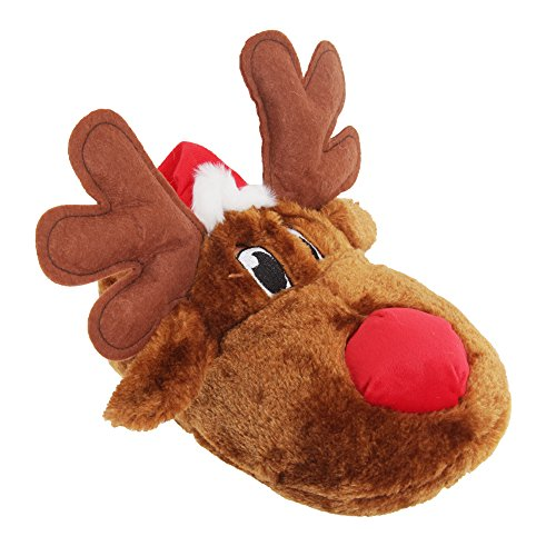 Adults Unisex Christmas Reindeer Design Novelty Slippers (6-7 US) (Brown) by Universal Textiles