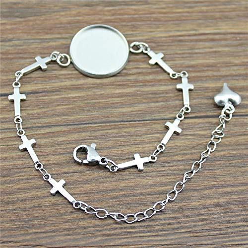 WYSIWYG 10 Pieces Chain Link Bracelet Female Cross Connector Single Inner Size 18mm Round Flatback Resin cabochons Cameo Base Tray Bezel ()