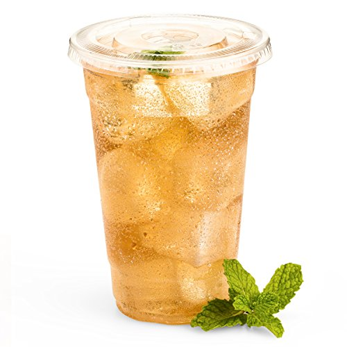 Green Direct 24 oz. Plastic Clear Cups With Flat Lids for Cold Drink / Bubble Boba / Iced Coffee / Tea / Smoothie Pack of 100