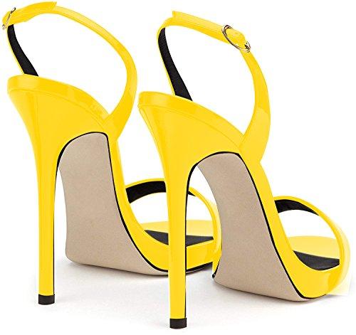 Donna Sandali della da Tacco Giallo Caviglia della Cintura Alto Scarpe Sandali elashe Sandali 12CM con AE85aw
