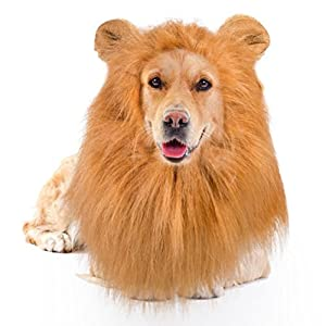 Lion Mane for Dog - Large Medium with Ears Pet Lion Mane Costume Button Adjustable Holiday Photo Shoots Party Festival Occasion Light Brown