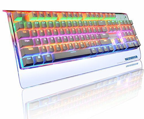 Reetec Rainbow Backlit 104 Keys Waterproof USB Wired Mechanical PC Gaming Computer Keyboard with Blue Switches