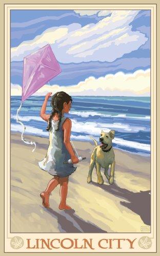 Northwest Art Mall Lincoln City Girl Dog Beach Unframed Prints by Joanne Kollman, 11-Inch by - South Lincoln Mall Beach