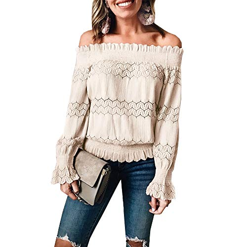 PRETTYGARDEN Women's Sexy Stretchy Off Shoulder Ruffle Long Sleeve Smocked Waist Lace Crochet Chic Blouse Tops Shirt (Apricot, S)