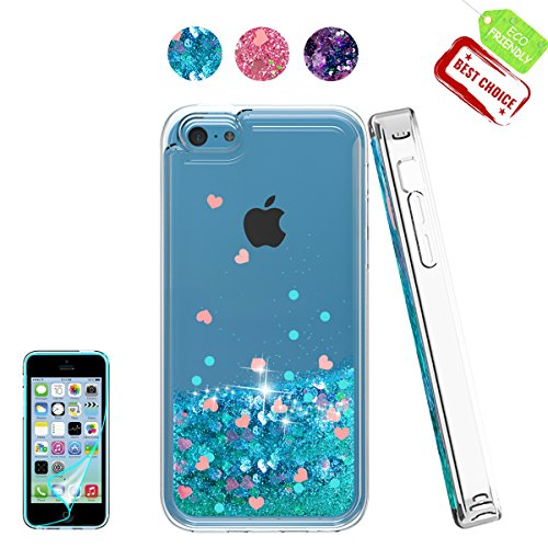 iPhone 5C Case with HD Screen Protector for Girl,Atump[Love Heart Series] Liquid Glitter Bling Sparkly Soft TPU Bumper Clear Quicksand Protective Shock-Absorption Phone Cover for iPhone 5C Blue