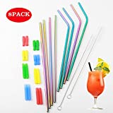 Stainless Steel Straw Tumblers 30oz Reusable StrawsFor Cold Beverage Bottle Cup Mugs -Kids Set of 8 with 2 Cleaning Brushes (Multi-Colour)