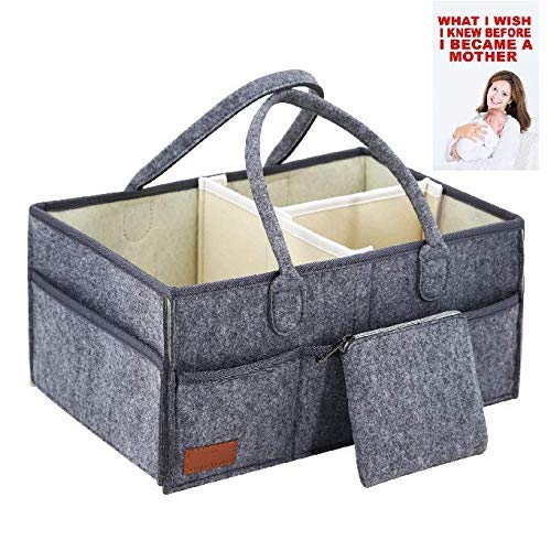 Aqua Changing Table - Baby Diaper Caddy Portable Organizer & Free E-Book Changing Table Nursery: Large Storage Basket Tote. Must Have Nursery Bag for Craft. Perfect Newborn Shower Registry Gift! 15x9.5x7.5in (Earth)
