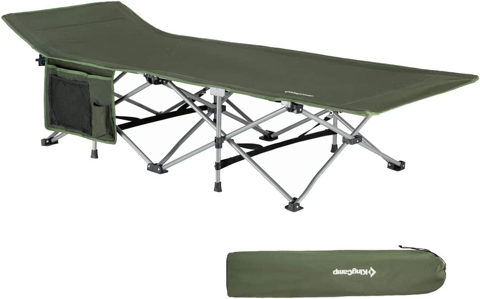 KingCamp Folding Camping Cot for Adults – 1200D Durable Deluxe Collapsible Camping Bed for Indoor Outdoor Use Ultra Comfortable Heavy Duty Design, Carry Bag Includes