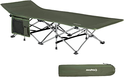 KingCamp Folding Camping Cot for Adults W Carry Bag, Portable Sleeping Cot for Camp Office Use W Pockets, Heavy Duty Folding Cot Bed, Blue Gray Green